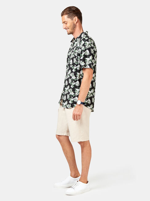 Fox Short Sleeve Print Shirt, Black, hi-res