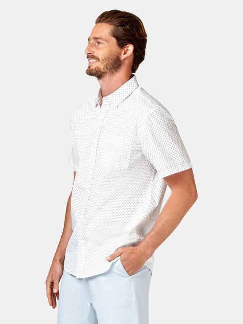 Devon Short Sleeve Print Shirt, White, hi-res