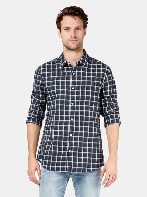 Hudson Long Sleeve Check Shirt, Grey, hi-res
