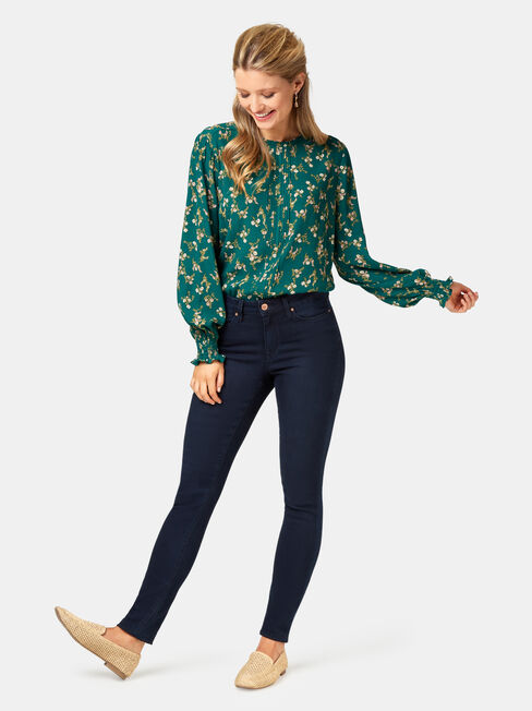 Lilianna High Neck Blouse, Green, hi-res