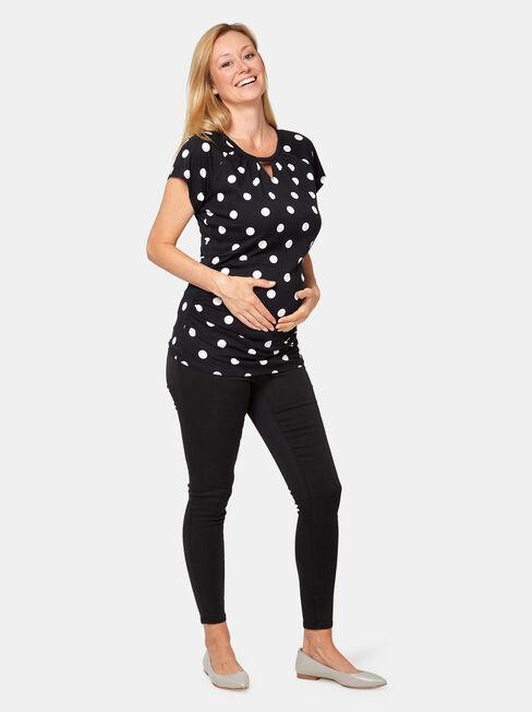 Cathy Maternity Print Top, Black, hi-res