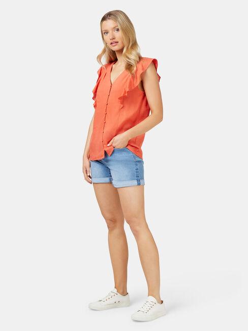 Penelope Linen Blend Top, Orange, hi-res