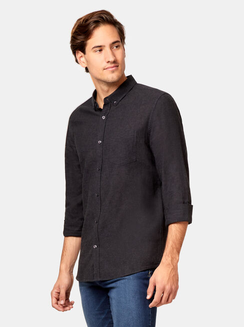 Brando Long Sleeve Textured Shirt, Black, hi-res