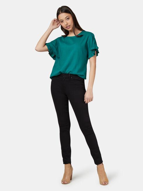 Fiona Ruffle Sleeve Top, Green, hi-res