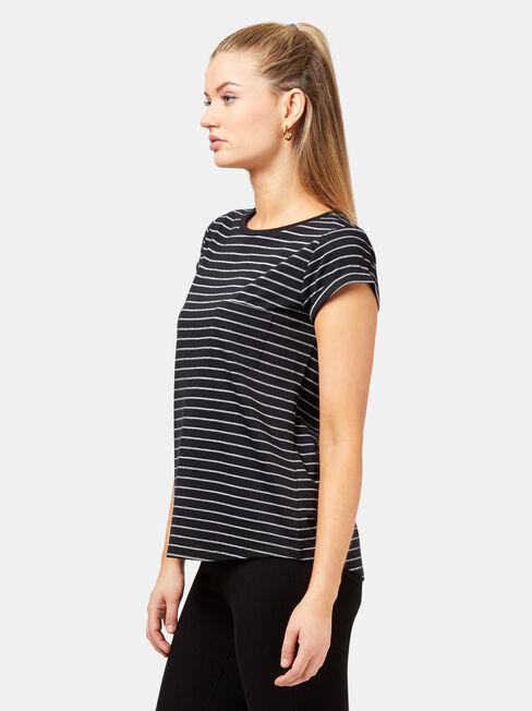 Adelaide Stripe Tee, Black, hi-res