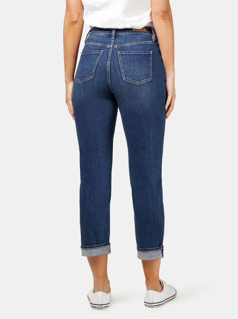 Kelly Double Yoke High Waisted Crop Straight, Mid Indigo, hi-res