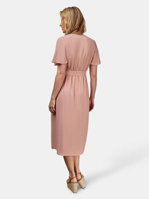 Hannah Button Thru Dress, Pink, hi-res