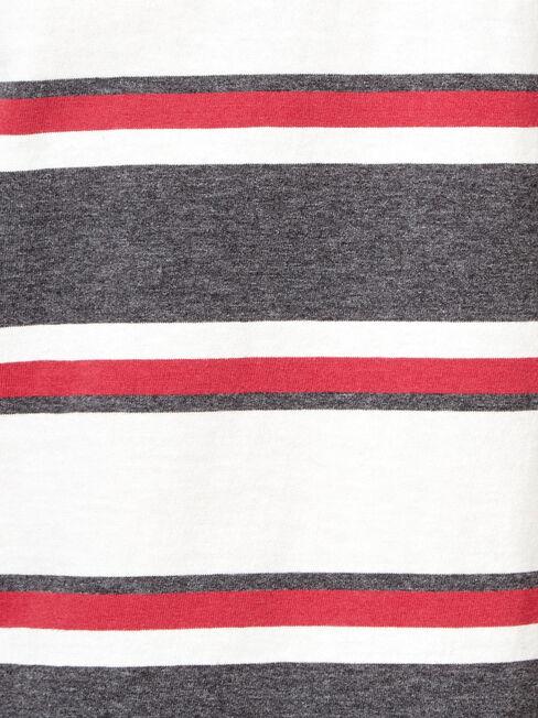 Banjo Short Sleeve Stripe Crew Tee, Grey, hi-res