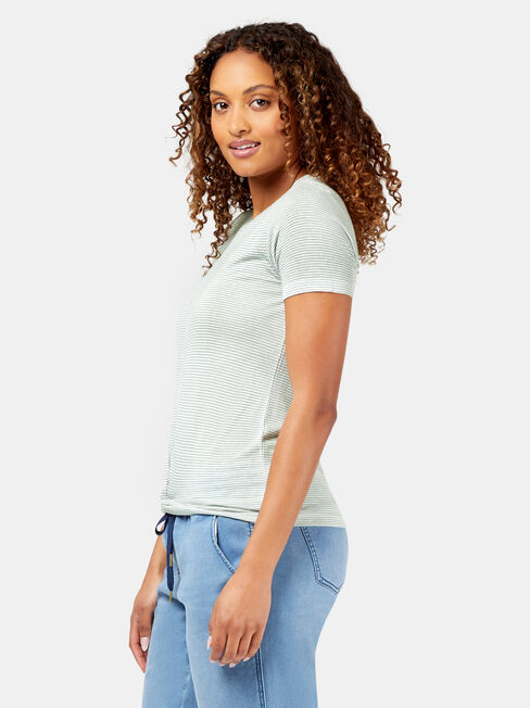 Nia Knot Front Tee, Stripe, hi-res