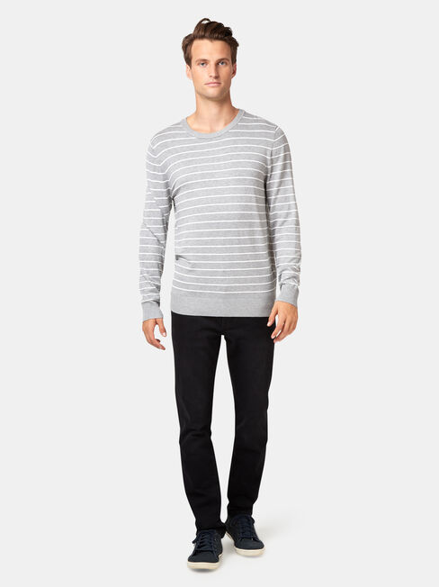 Carlos Stripe Crew Knit, Grey, hi-res