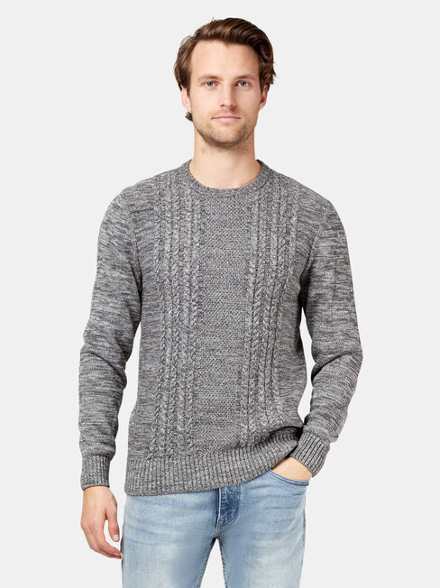 Houston Crew Neck Cable Knit, Grey, hi-res