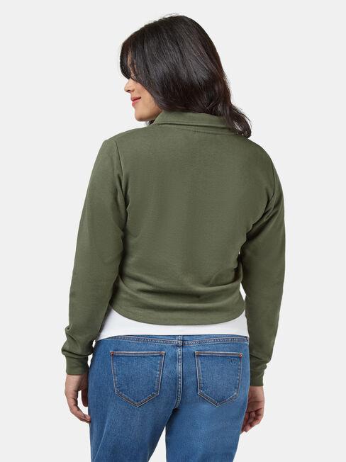 Pearl Zip Front Concave Sweat, Green, hi-res