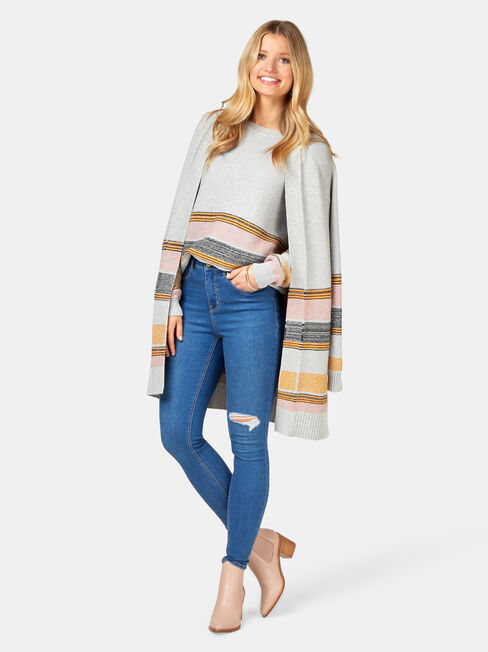 Sienna Stripe Hem Pullover, Grey, hi-res