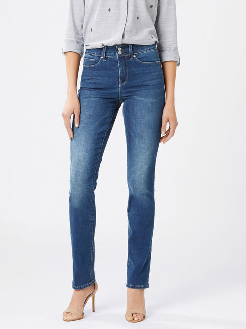 Tummy Trimmer Slim Straight Jeans Mid Sapphire