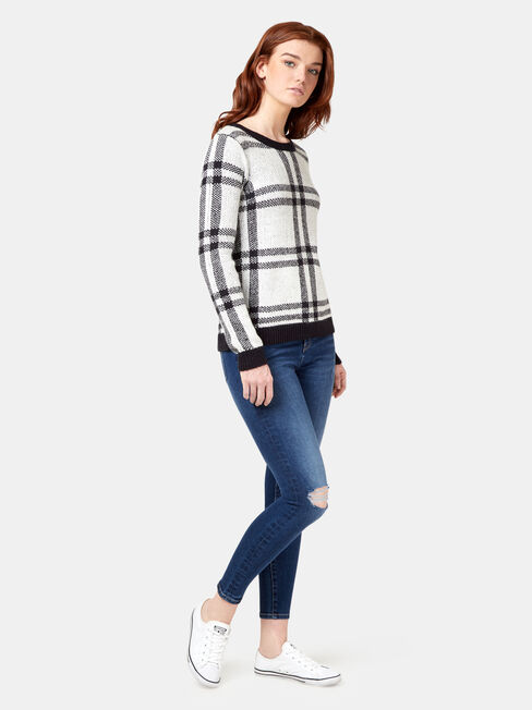 Audrey Check Pullover, White, hi-res