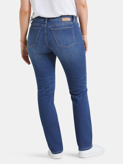 Curve Embracer Slim Straight Jeans Lake Blue, Mid Indigo, hi-res