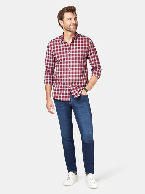 Turner Long Sleeve Check Shirt, Red, hi-res