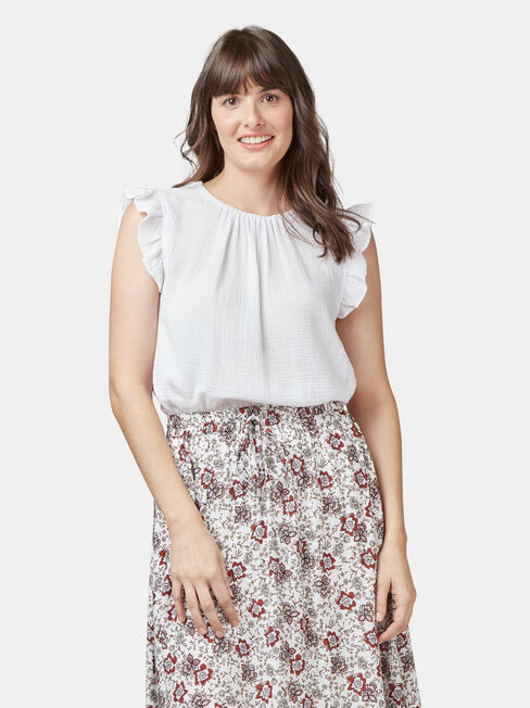 Frida Textured Frill Sleeve Top, White, hi-res