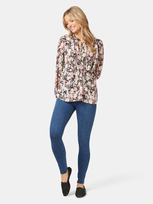 Jane Peplum Hem Top, Floral, hi-res