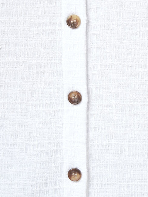 Harlow Textured Button Thru Tank, White, hi-res