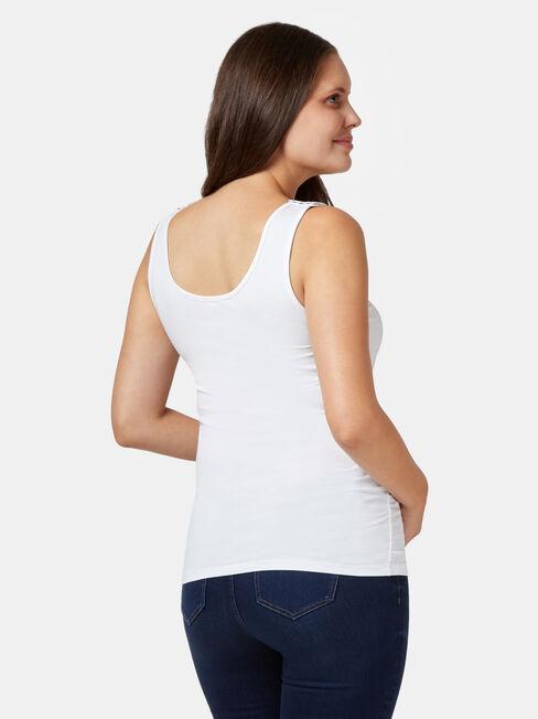 Post Maternity Cotton Nursing Tank, White, hi-res