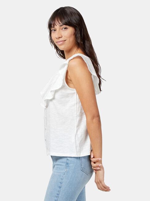 Joanna Broderie Trim Top, White, hi-res