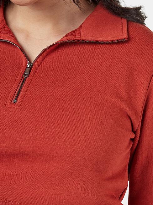 Pearl Zip Front Concave Sweat, Red, hi-res