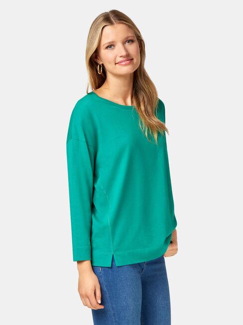 3/4 Sleeve Drop Shoulder Tee, Green, hi-res