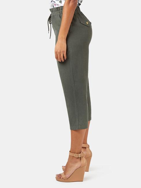 Lyla 3/4 Paperbag Pant, Green, hi-res