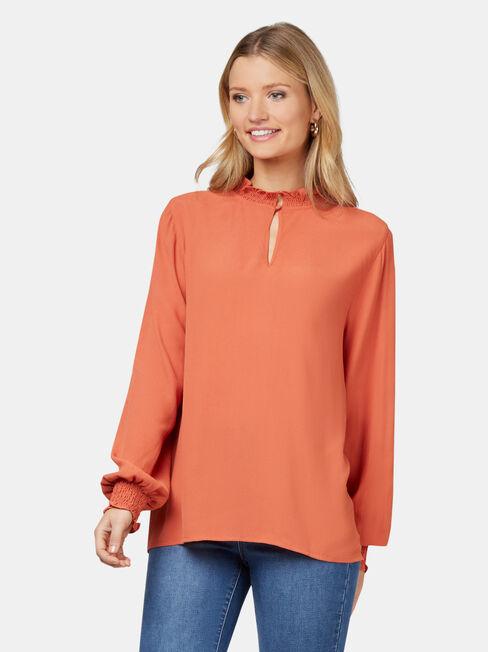 Freya Frill High Neck Top, Orange, hi-res