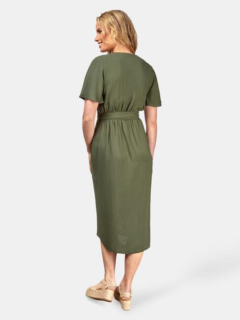 Hannah Button Thru Dress, Green, hi-res