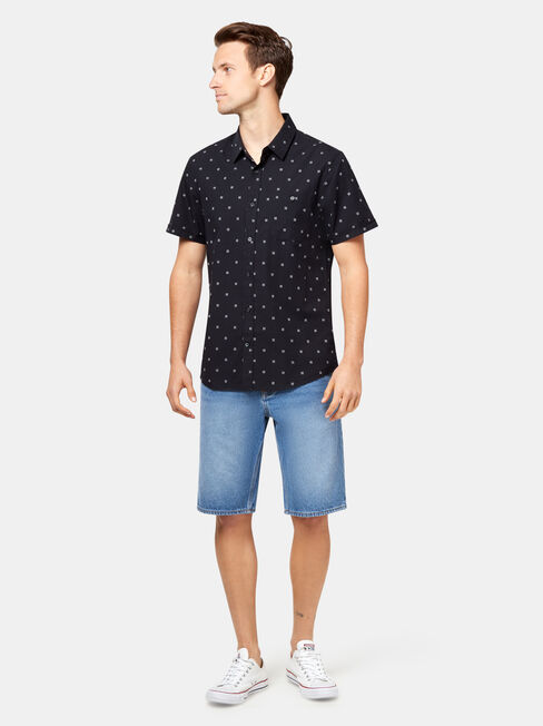 Morgan Short Sleeve Dobby Shirt, Black, hi-res