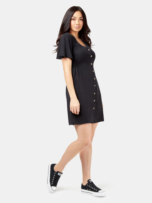 Casey Button Through Dress, Black, hi-res