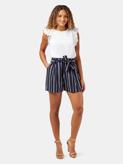 Valerie Yarn Dye Stripe Short, White, hi-res
