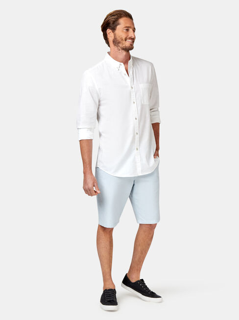 Bennett Long Sleeve Textured Shirt, White, hi-res