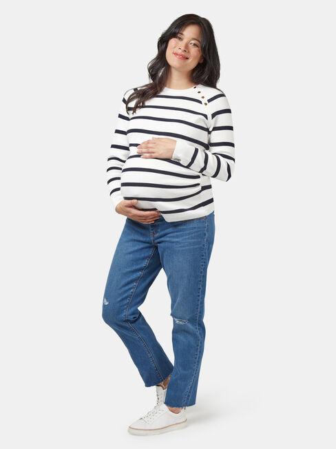 Carla Crop Straight Maternity Jean Light Wash, Mid Indigo, hi-res