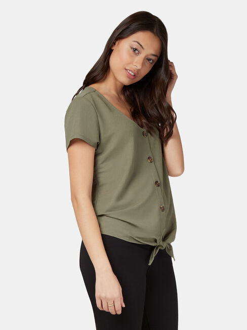 Olivia Button Tie Front Tee, Green, hi-res