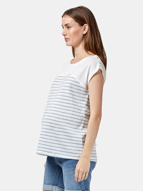 Kim Maternity Stripe Tee, Blue, hi-res