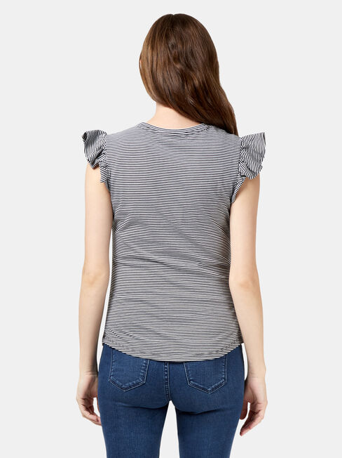 Tracey Maternity Frilled Sleeve Tee, Black, hi-res