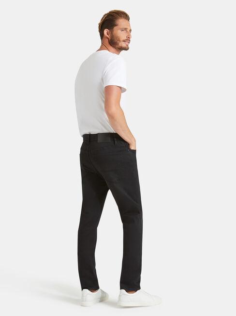 Denim Flex Slim Tapered Jeans Washed Black, Black, hi-res