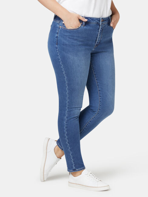 Feather Touch Curve Embracer Skinny 7/8 Jeans Mid Indigo, Mid Indigo, hi-res