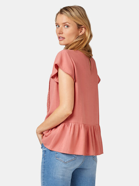 Stella Peplum Top, Red, hi-res