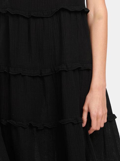 Sophie Sleeve Tiered Midi Dress, Black, hi-res