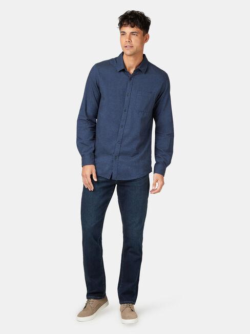 LS Byron Brushed Shirt, Blue, hi-res