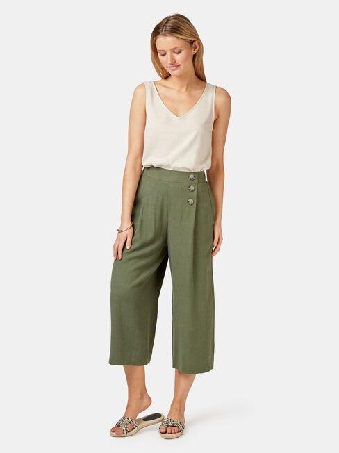 Naomi Wide Leg Crop Pant, Green, hi-res