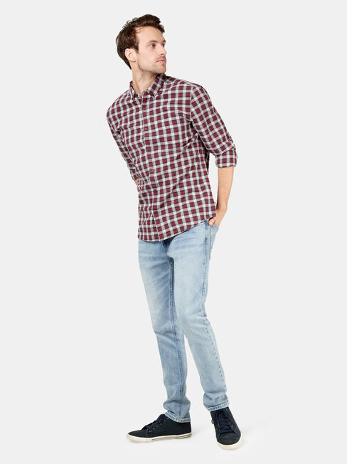 Laurie Long Sleeve Check Shirt, Red, hi-res