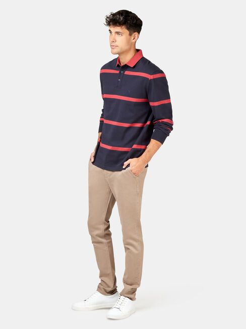 LS Clark Stripe Rugby Polo, Blue, hi-res