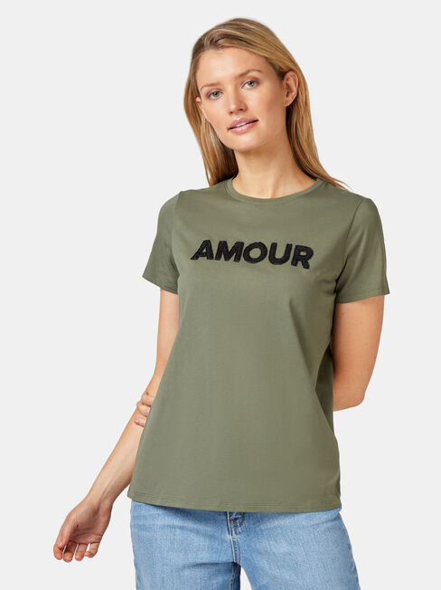 Ivy Embellished Slogan Tee, Green, hi-res