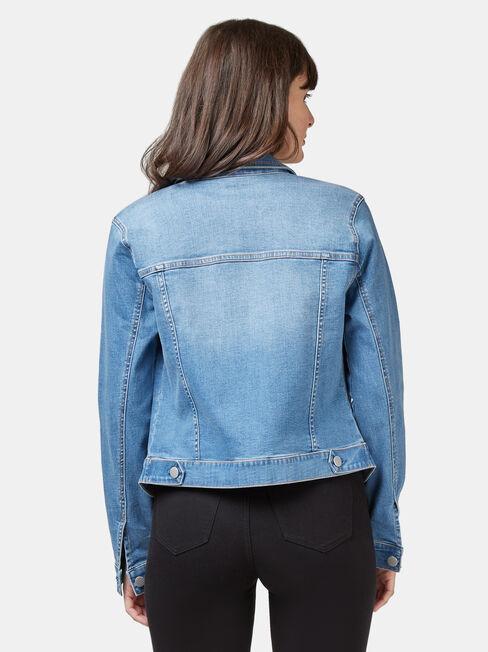 Classic Stretch Denim Jacket, Light Indigo, hi-res