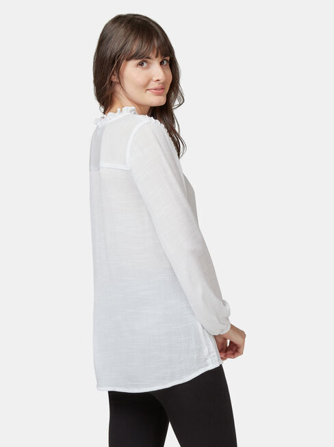Aria Peplum Hem Top, White, hi-res